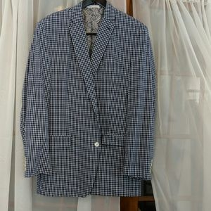 Macy's Ralph Lauren checkered navy blazer 46L